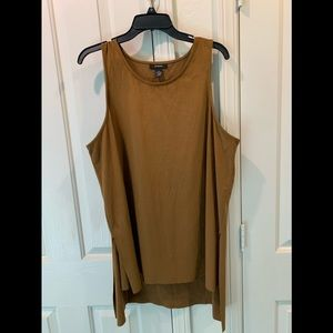 Beautiful fake suede ,camel color stretchable top,